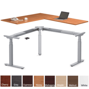Deluxe Electric Height Adjustable L Shaped Desk - Honey - Right Hand