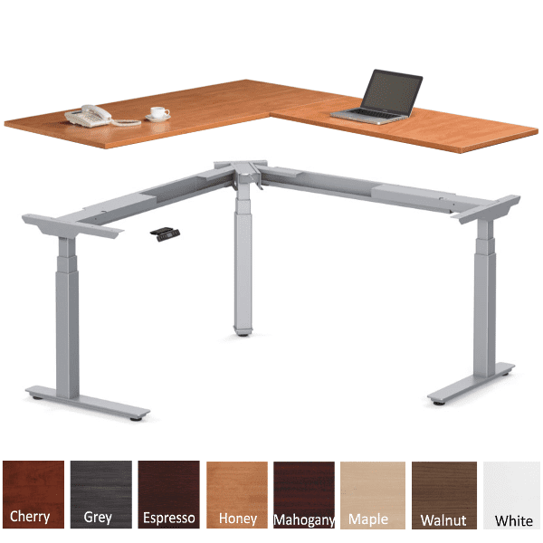 Deluxe Electric Height Adjustable L Shaped Desk - Honey - Right Hand - 8 Finish Colors