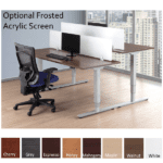 Deluxe Electric Height Adjustable Table Workstations Each with Desk Mount Frosted Acrylic Privacy Screens