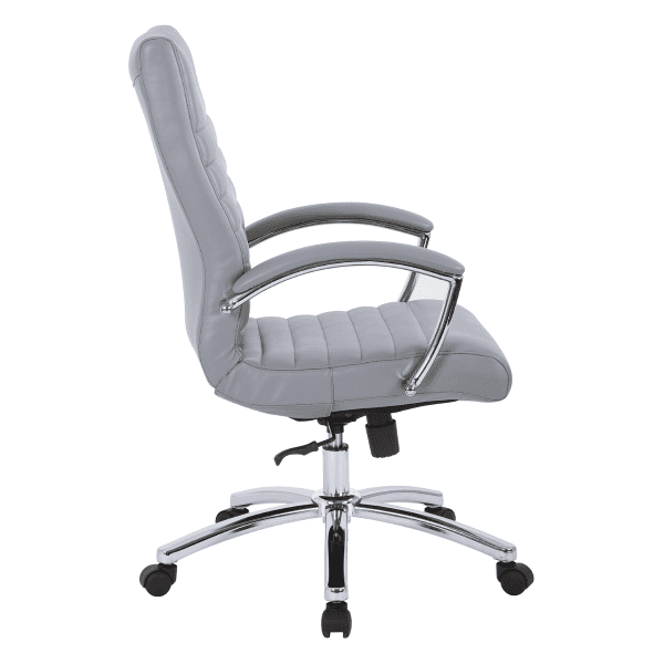 FL Faux Leather Managers Office Chair - 4 Colors - Charcoal Gray - Side View