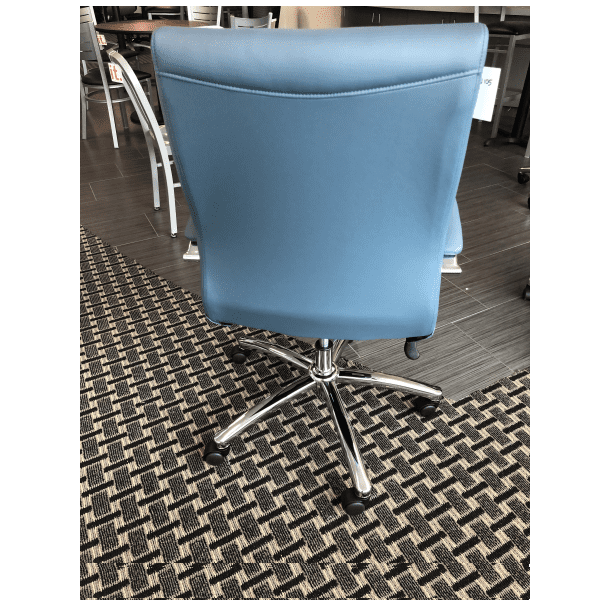 Faux Leather Managers Office Chair - Blue - Rear