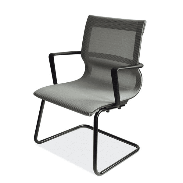 Franklin All Silver Mesh Guest Chair - Black Cantilever Steel Base - Reverse