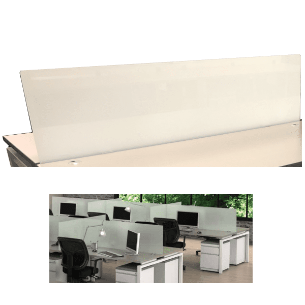 Front Mount 19 Inch Frosted Glass Screen for Desks - 4 Sizes Stocked in DFW