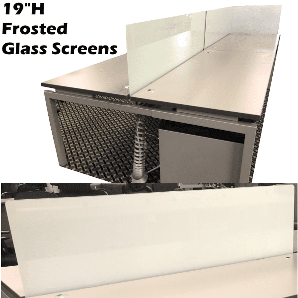 Front Mount 19 Inch Frosted Glass Screens - 4 Sizes