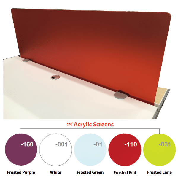 Front Mount Acrylic Privacy Screen - Frosted Red - Main - 5 Colorful Acrylics