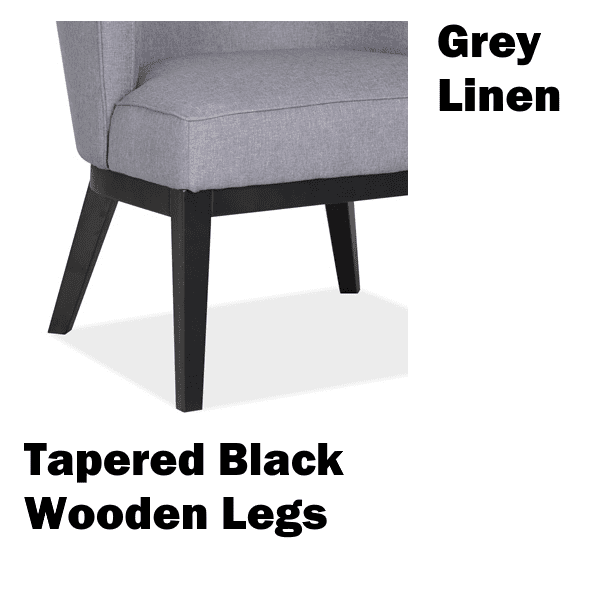 Gray Linen Fabric with Tapered Black Wood Legs