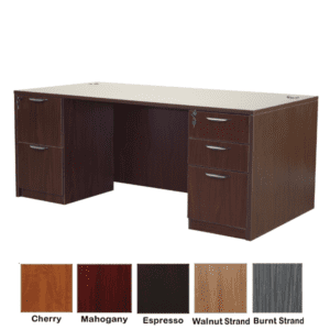 Mahogany Double Pedestal Desk - 5 Colors & 2 Sizes