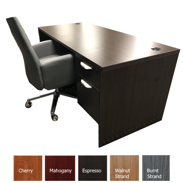 OFD Desk Espresso with 2 Drawer Box File