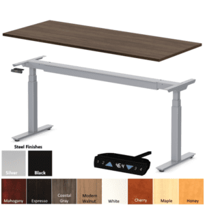 Office Source Height Adjustable Desk - 9 Colors - Black or Silver