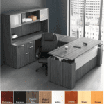 Office Source U Shaped Casing Executive Desk with Glass Door Hutch