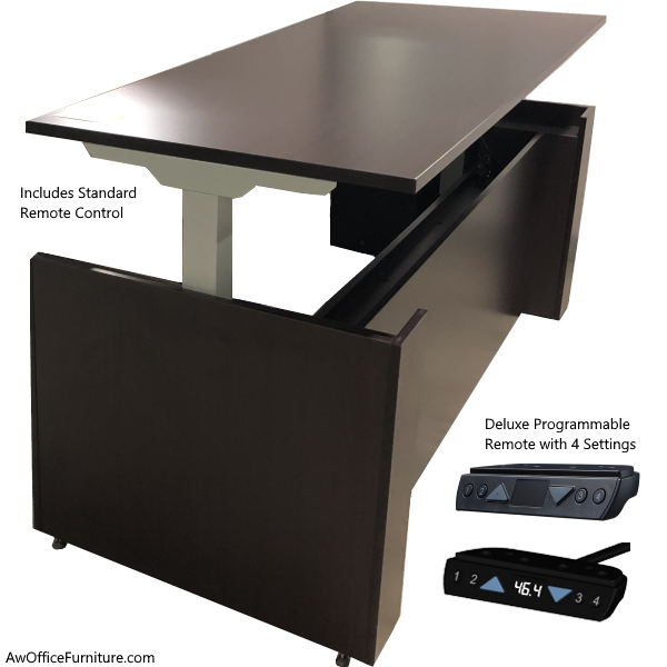 Office Source Performance Height Adjustable Executive Casing Desk - Espresso