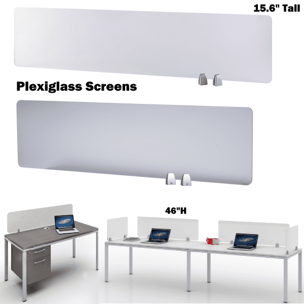 Plexiglass Screens Array with Benching Desks