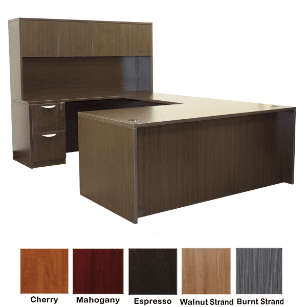 Rectangular Front U-Shape Desk with Hutch - Left Handed - Espresso - 5 Colors