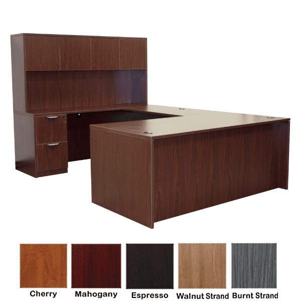 Rectangular Front U-Shape Desk with Hutch - Left Handed - Mahogany - 5 Colors