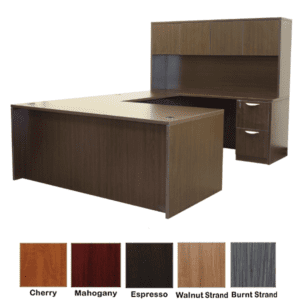 U-Shape Desk with Hutch - Right Handed - Espresso Finish