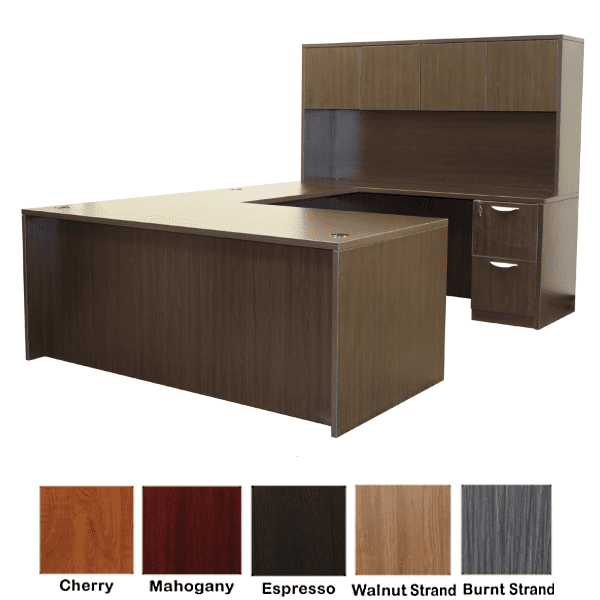 Rectangular Front U-Shape Desk with Hutch - Right Handed - Espresso - 5 Colors