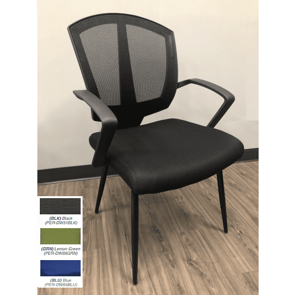 Sprint Guest Chair - Black Mesh - 3 Fabric Colors