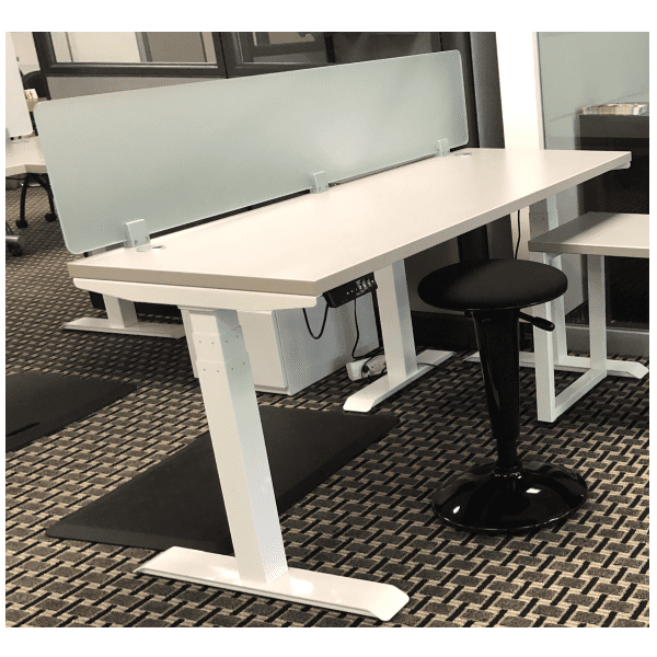 Top Mount 12 Inch Tall Frosted Green Screen on Height Adjustable Desk - 70 Inches Wide
