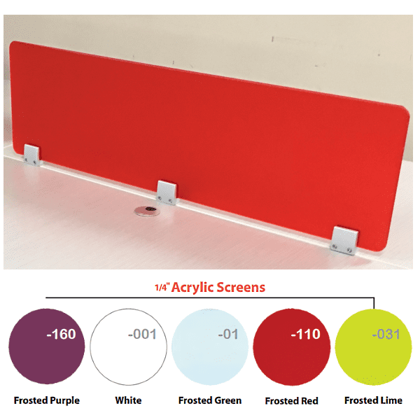 Top Mount 12 Inch Tall Frosted Red Screen - 64 Inches Wide