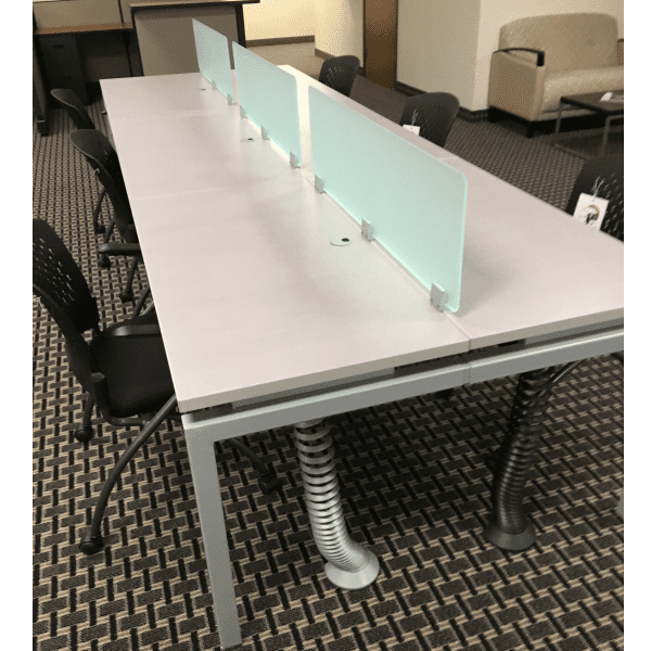 Top Mount Set of Three 12 Inch Tall Frosted Green Screens on Height Adjustable Desk - 64 Inches Wide