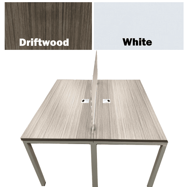 Team Station Values Benching Desking 2x1 Layout - Driftwood