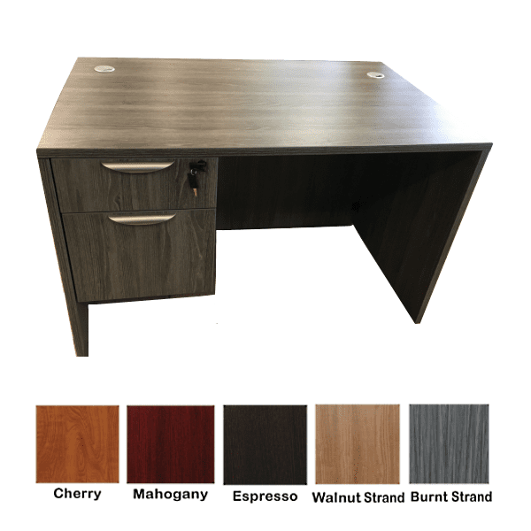 New Ultra 48 Inch Single Pedestal Desk - Burnt Strand - 5 Colors