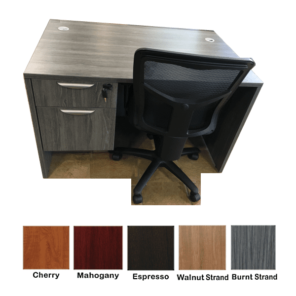 Ultra 48 Inch Single Pedestal Desk - Burnt Strand Finish with Chair - 5 Colors