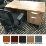 Ultra 48 Inch Single Pedestal Desk - Walnut Finish - 5 Colors