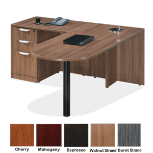 Ultra Bullet L-Shape Desk - Walnut Strand - Left Handed - 5 Colors - Full 3-Drawer Box Box File Pedestal