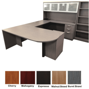 Ultra Bullet Shape Executive U Shape Desk - Burnt Strand Finish