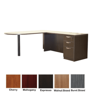 Ultra Bullet Shape L-Shaped Desk - Espresso - Shown with 3-Drawer Pedestal