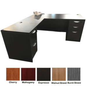 Ultra L-Shape Desk - 2 Full Pedestals - 5 Colors