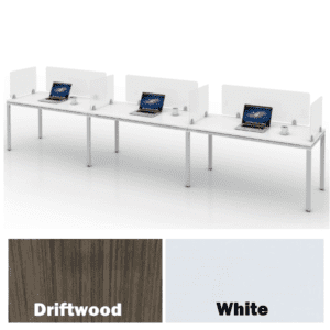 3 Person Workstation - White - Privacy and Facing Screens - Setup