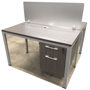 Values 2 x 1 Benching Workstation 1x2 - Driftwood Finish