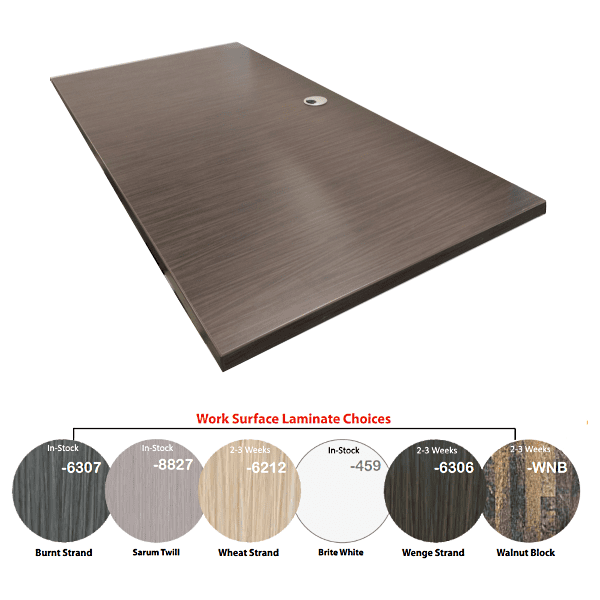 Worksurface Color Tops with Wire Grommets