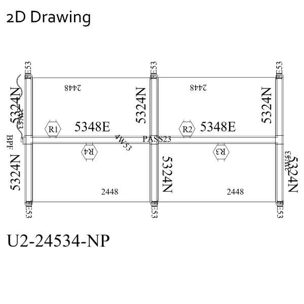 2D Drawing 4 Pack 2x2 Workstations Ultra 2 Cubicles Panel System