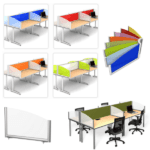 Arced Wing Panel Screens - 8 Colorful Acrylics - Frosted Acrylic - Trubrite Dry Erase
