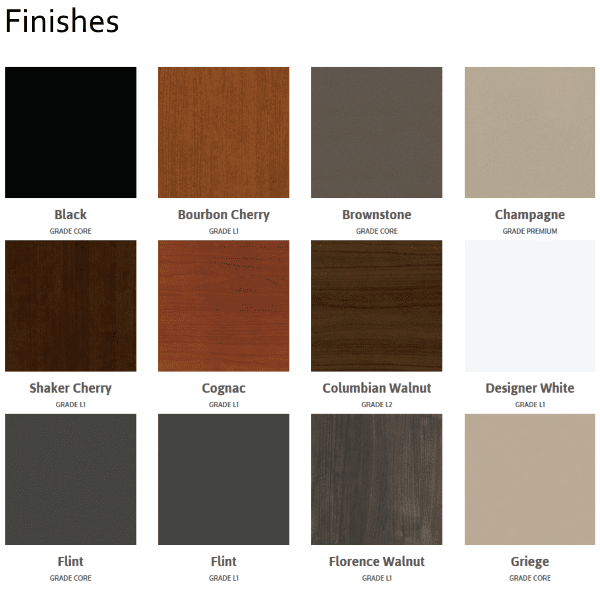 Maxon Prefix Finishes - L1 Finishes - Surface Finish Colors - Prefix Cubicles - Color Pallette