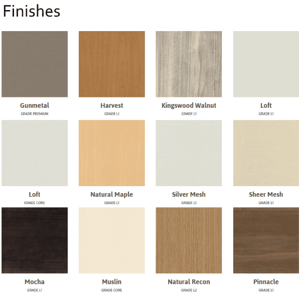 Maxon Prefix Finishes - Standard Finishes L1 - Prefix Cubicles - Finish Pallette