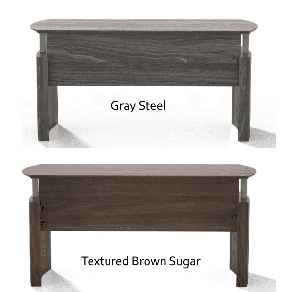 Mayline Medina Height Adjustable Curved Desks - Approach View - Textured Brown Sugar + Gray Steel - 5 Colors