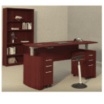 Mayline Medina Height Adjustable Curved Desks Ready to Ship - Mahogany Finish - 5 Colors