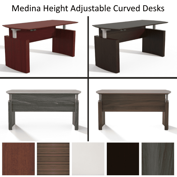 Gallery of Mayline Medina Height Adjustable Curved Desks Ready to Ship - Mocha - 5 Colors