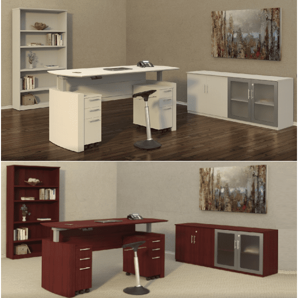 Mayline Medina Height Adjustable Curved Desks Vignettes