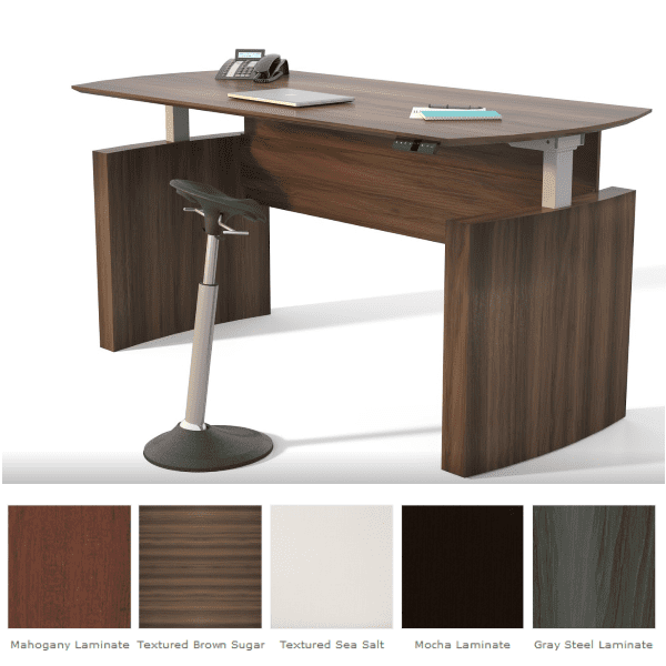 Mayline Medina Height Adjustable Curved Front Desk - 5 Colors