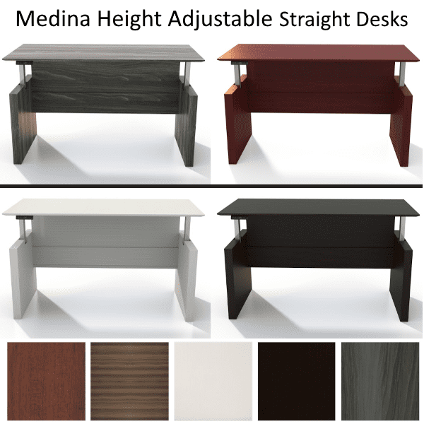 Mayline Medina Height Adjustable Straight Desks Ready to Ship - 5 Colors
