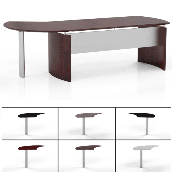 Mayline Medina MND63 or 72 Desk - Mahogany -Approach View - Return Sizes and Shapes