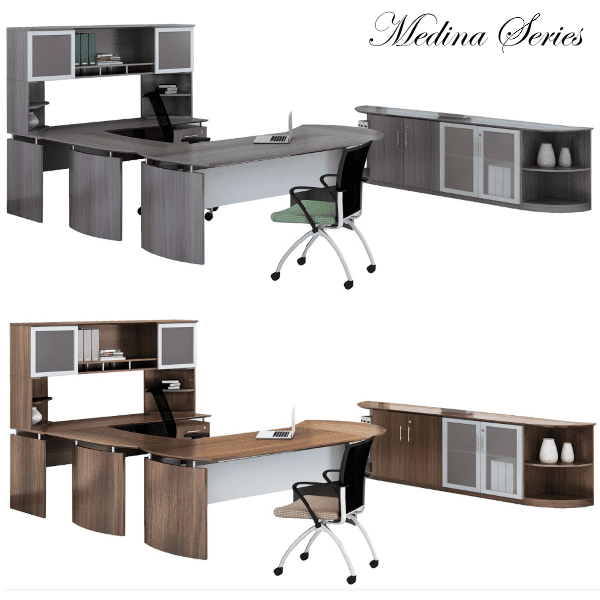 Mayline Safco Medina MND39 90-Degree Curved U-Shape Desk with Mobile File & 2 Glass Door Open Hutch - Gray Steel - 5 Colors