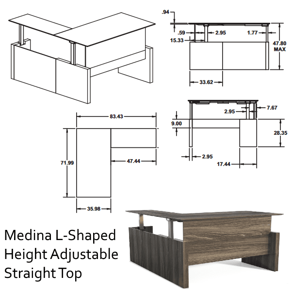 Medina™ Height-Adjustable Straight Front Desk & Return -2D