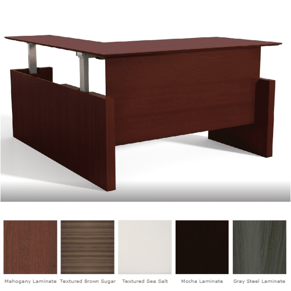 Medina™ Height-Adjustable Straight Front Desk & Return - Mahogany Finish - 5 Finish Colors - Right Hand