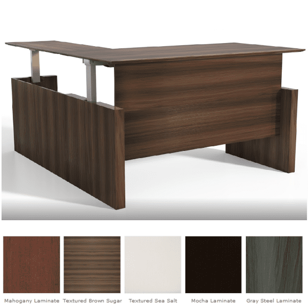 Medina™ Height-Adjustable Straight Front Desk & Return - Textured Brown Sugar Finish - 5 Finish Colors - Right Hand Model